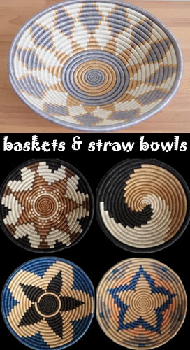baskets and straw bowls