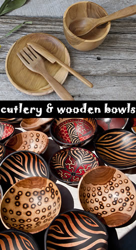 cutlery and wooden bowls